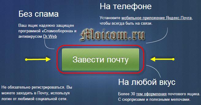 Электронная почта яндекс - завести почту