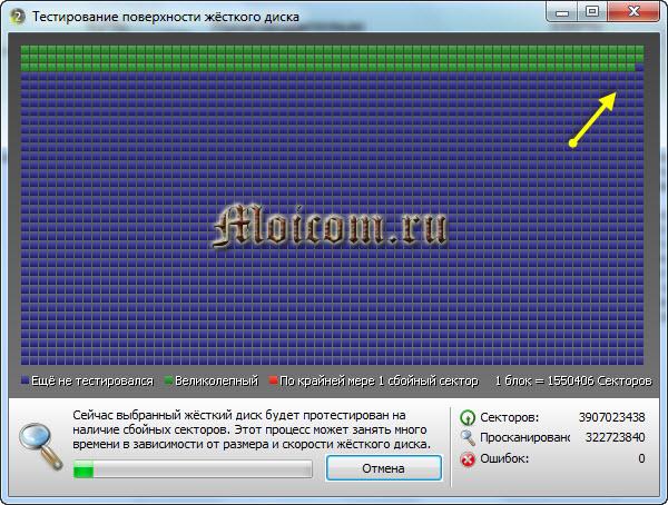Проверка жесткого диска - Ashampoo HDD Control 2, тест поверхности диска
