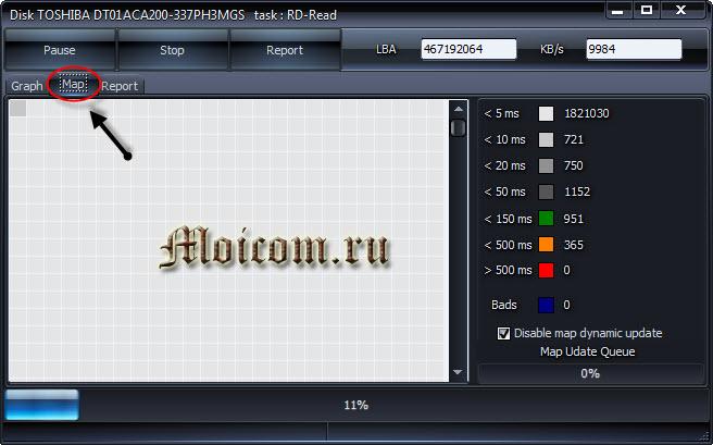 Проверка жесткого диска - HDDScan карта