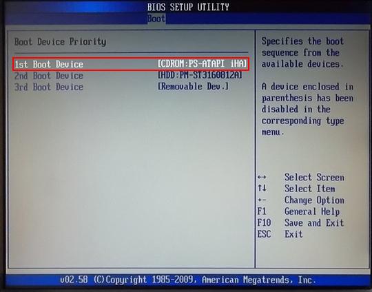 Установка windows XP, выбор источника загрузки