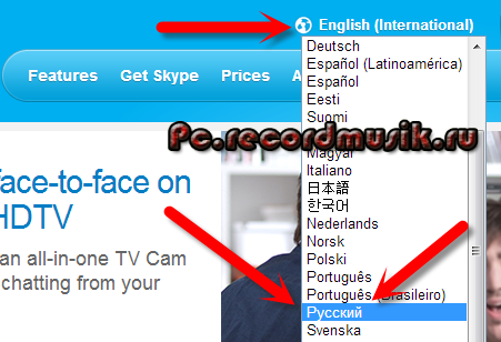 Как настроить скайп - Выбор языка