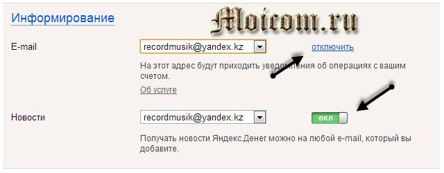 Регистрация в яндекс деньги - информирование