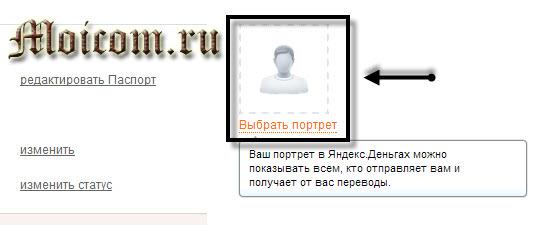 Регистрация в яндекс деньги - выбрать портрет