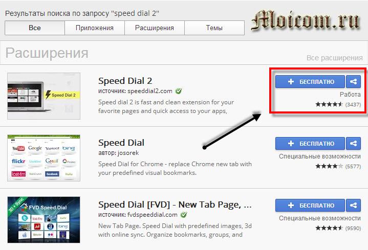 Визуальные закладки для Google Chrome - Speed dial 2