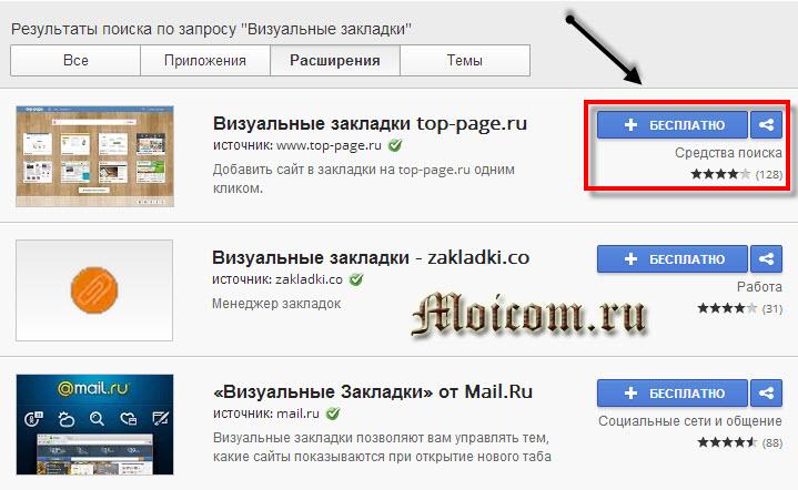 Визуальные закладки для Google Chrome - бесплатно