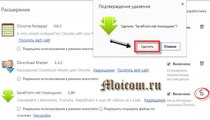 Визуальные закладки для Google Chrome - подтверждение удаления расширения