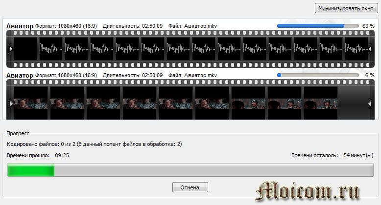 Как создать образ диска - Ashampoo, прогресс кодирования файлов