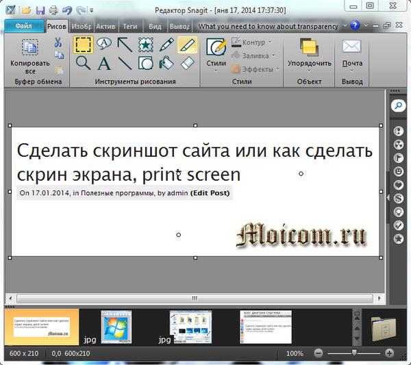Как сделать скрин экрана - Snagit, заголовок статьи
