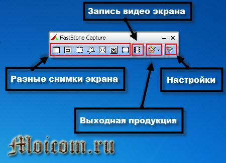 Сделать скриншот сайта - FastStone Capture, панель навигации
