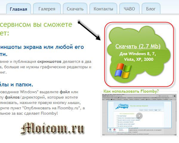 Сделать скриншот сайта - Floomby, скачать
