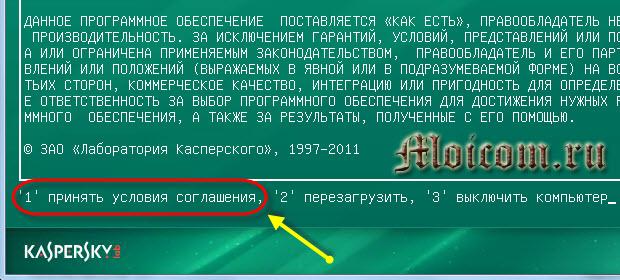 Kaspersky rescue disk 10 - принимаем условия