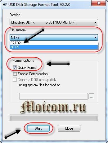 Создание мультизагрузочной флешки - HP USB Tool, настройки форматирования