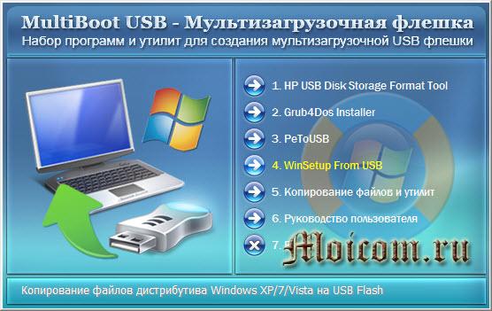 Создание мультизагрузочной флешки - меню MultiBoot USB
