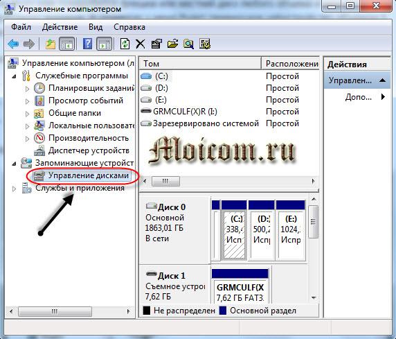 Как отформатировать флешку - управление дисками, управление компьютером