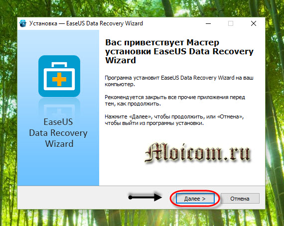 EaseUS Data Recovery Wizard free - мастер установки, далее
