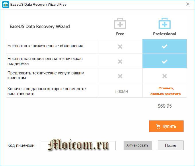EaseUS Data Recovery Wizard free - покупка лицензии