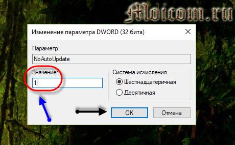 Как отключить обновление windows 10 - реестр, noautoupdate, значение 1
