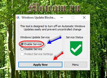 Как отключить обновление windows 10 - win update blocker, включение параметра
