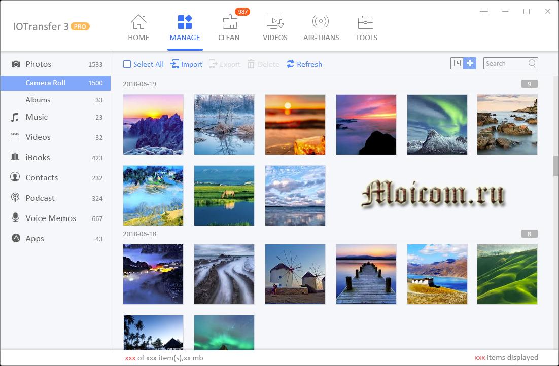 Программа IOtransfer 3 Pro - управление фотографиями