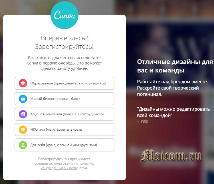 Приложение Canva - выбор направления