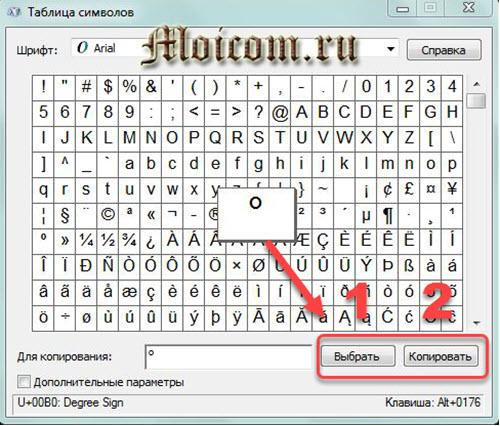 как поставить знак градуса на клавиатуре - таблица символов