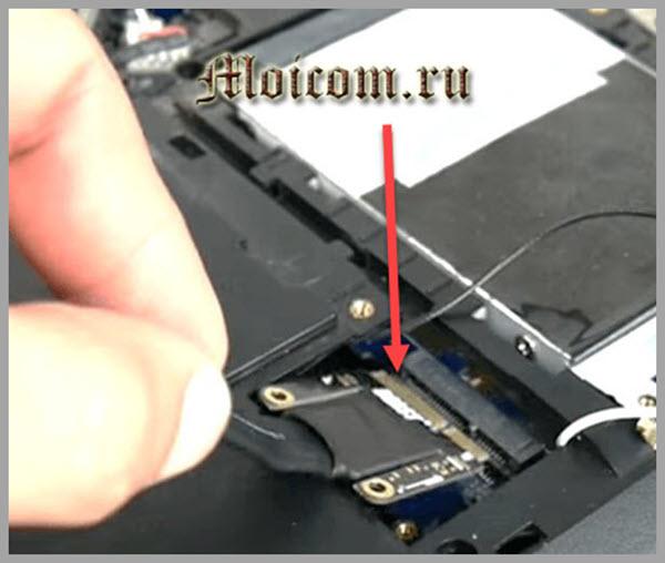 как подключить внешнюю видеокарту к ноутбуку - подключение кабеля EXP GDC к порту mini PCI Express