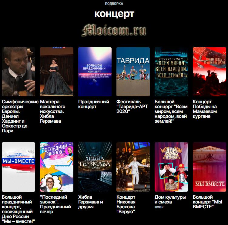 Онлайн платформа смотрим.рф - раздел концерты
